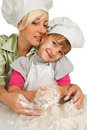 Free Mother And Daughter Preparing Dough Royalty Free Stock Photography - 19612247