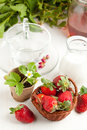 Free Basket Of Fresh Strawberries And Milk Royalty Free Stock Photography - 19614947