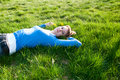 Free Beautiful Girl Lying On The Grass Stock Photos - 19615573