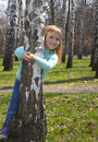 Free Smiling Girl In Birch Grove Royalty Free Stock Image - 19615886