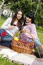 Free Mother And Daughter Drinking Wine Outdoors Royalty Free Stock Images - 19619369