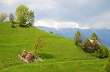 Free House And Haystacks On Beautiful Hills Stock Photography - 19610882