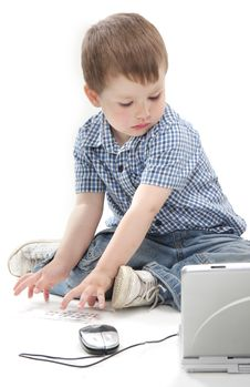 Free Young Boy With Laptop Over White Royalty Free Stock Photography - 19611167