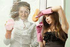 Free Glamour Girls Washing The Window Royalty Free Stock Photo - 19612155