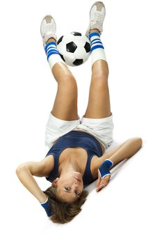 Free Sporty Girl With A Soccer Ball Royalty Free Stock Photos - 19612158