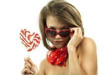 Free Sexy Woman With Heart Shaped Lollipop Stock Photos - 19612163