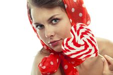 Free Woman With Heart Shaped Lollipop Stock Images - 19612164
