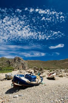 Old Boat On The Shore In Greece Island Crete Stock Image