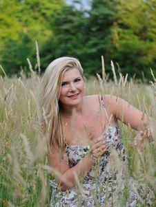 Pretty Summer Woman On Yellow Wheat Field