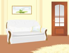 Free Sofa With Pillow. Fragment Of Living Room Royalty Free Stock Image - 19614036