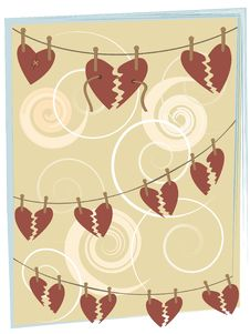 Free Broken Hearts On String Hanging From Clothespins Royalty Free Stock Photo - 19614625