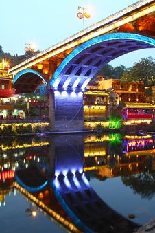 Free Fenghuang Ancient Town In Hunan Province At Night Stock Image - 19614871