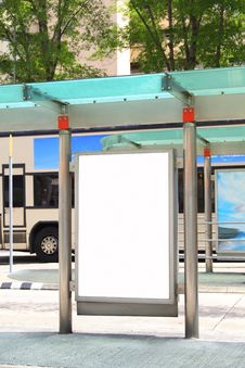 Free Blank Billboard On Bus Stop Stock Images - 19614914
