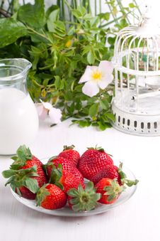 Free Plate With Fresh Strawberries Royalty Free Stock Images - 19614929