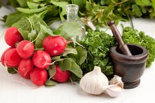 Free Fresh Radishes With Garlic Royalty Free Stock Photos - 19614968