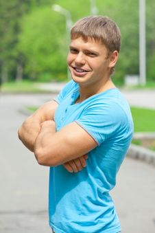Free Portrait Of Cheerful Young Man Outdoors Royalty Free Stock Photos - 19615468