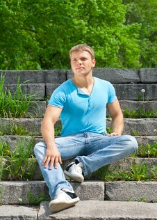 Free Portrait Of Handsome Young Man Outdoors Royalty Free Stock Images - 19615479
