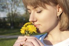 Free Girl And Dandelions Royalty Free Stock Photo - 19615645