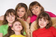 Happy Family On Sofa Stock Photo