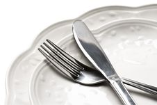 Free Dinner Plates With Knife And Fork Stock Photos - 19618713