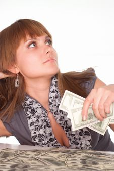 Girl With Cash Stock Images