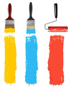 Set Of Colorful Paint Roller Brushes. Stock Images