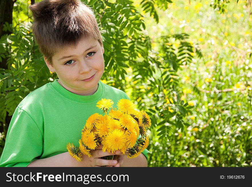 A boy with a  dandelions