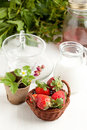 Free Basket Of Fresh Strawberries And Milk Stock Images - 19627194