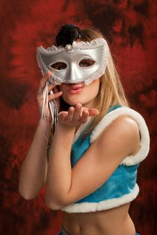 Cute Snowmaiden In Silver Mask Royalty Free Stock Photography