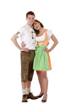 Free Happy Bavarian Couple In Love Holds Each Other Royalty Free Stock Image - 19622046