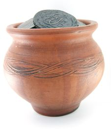Clay Pot With Ancient Coins Stock Photo