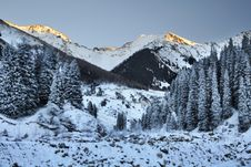 Winter Evening In The Mountains Royalty Free Stock Images
