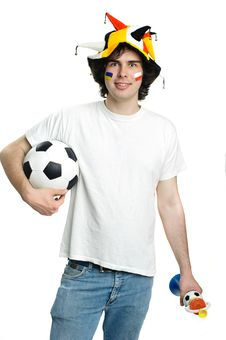 Football Fan With Ball And Trumpet Royalty Free Stock Photos