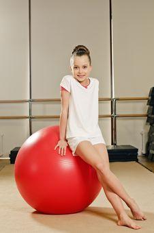 Gymnast Girl On The Ball Stock Image