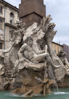 Fountain On The Areas Of Navona Royalty Free Stock Images