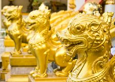 Free Head Of Thai Lions Statue Stock Photography - 19627062