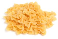 Free Bow Tie Pasta On White Background Stock Photography - 19628512
