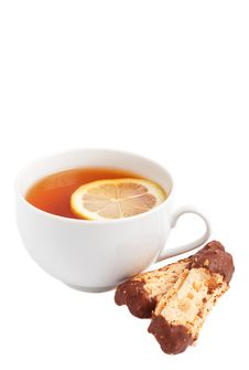 Free Cup Of Tea With Lemon And Chocolate Cookies Stock Photo - 19628520