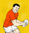 Free Rugby Player Running Passing Ball Stock Photography - 19633792