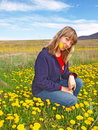 Free Beautiful Girl On A Dandelions Field Royalty Free Stock Photography - 19637597