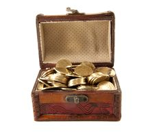 Chest With Metal Coins Royalty Free Stock Photo
