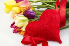 Free Tulips And Red Heart Stock Photo - 19630430