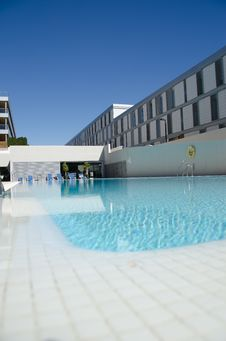 Swimming Pool, Build, Water Reflections Stock Photo