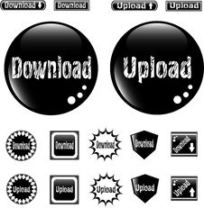Free Black Web Glossy Buttons Download And Upload Sign Royalty Free Stock Photography - 19631557