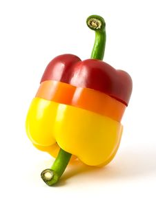 Sliced Three-color Pepper Royalty Free Stock Image