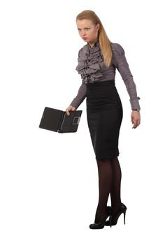 Angry Businesswoman With A Notebook Stock Images
