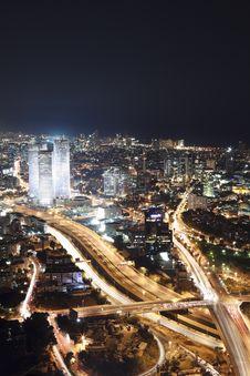 Free The Tel Aviv Skyline - Night City Stock Photos - 19633013