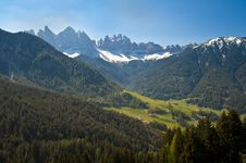 Free Spring Pastures In Dolomite Mountains Of Italy Stock Photography - 19633592