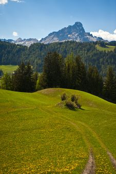 Free Spring Pastures In Dolomite Mountains Of Italy Royalty Free Stock Photo - 19633595