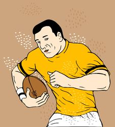 Free Rugby Player Running With Ball Stock Photos - 19634023